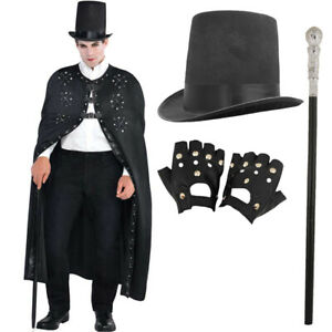 MENS STEAMPUNK COSTUME VICTORIAN CAPE HALLOWEEN DARK RINGMASTER MAGICIAN OUTFIT