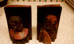 AFRICAN HARDWOOD MAN AND WOMAN IN NATIVE DRESS BOOKENDS 14CM X 8.5CM X 6CM BOOK