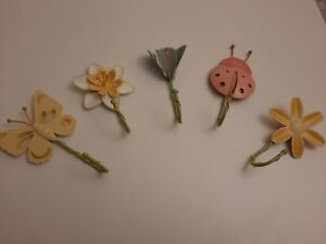 NEW. 5 METAL HOOKS. PAINTED METAL. FLOWERS, BUTTERFLY, LADYBIRD. BNWOT.