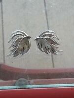 Vintage Trifari Crown Silver Tone Leaves  Earrings Clip On