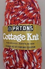 Patons Cottage Knit- Boucle/Slub  Wool yarn- worsted wt- clr 8568 Red/White