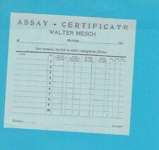 1900's unused Assay Certificate Walter Mesch