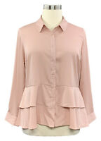JOAN RIVERS size 16 bisque pink silky woven long sleeve layered button up shirt