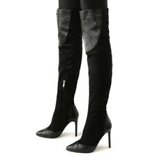 Women Over Knee Boots Plus Size Elastic Pointed Toe Slim High Heel Winter Shoes