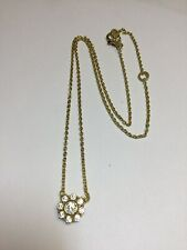 Judith Ripka Sterling Gold Clad CZ Flower Pendant Adjustable Chain