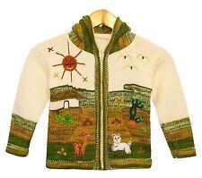 Strickjacke woll-weiß Grün meliert Gr.110*116 Nr. 2 Kapuze Tiere Alpaka Peru
