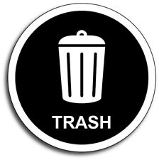 "Trash 4"" Black Garbage Waste Vinyl Decal 3M Sticker Dumpster Label Rubbish"
