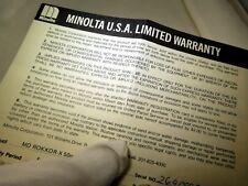 Minolta USA Limited Warranty card (EN) vintage MD Rokkor 50mm f1.7 1980