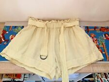 Bassike Linen rustic retro high waist belted yellow shorts Size 3