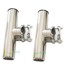 "2pcs Clamp-on Stainless Steel Fishing Rod Holder 1 1/4""- 2"" Any Rail Angle Rails"