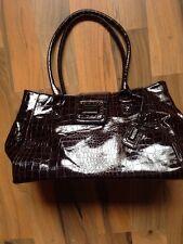 suzy smith dark brown faux snake skin handbag