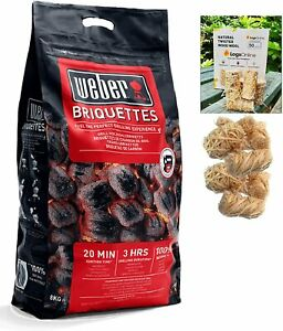 BBQ Starter Kit with Charcoal Briquettes Bag + 50 LogLites Firelighters Bundle