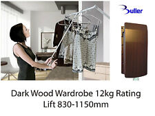 Pull Down Wardrobe Rail 830-1150mm Clothes Lift  Hanger Dark Wood. Rating 12kg