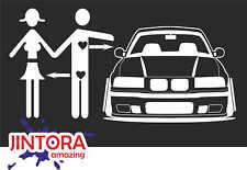 Sticker / Car Decal - car love bmw e 36 - 196x99 mm - JDM / Die - Fun White 1124