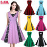 Plus Size 50s 60s Women Vintage Rockabilly Pinup Housewife Swing Evening Dress