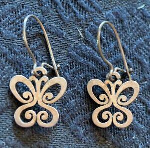 James Avery 925 Sterling Silver Butterfly Dangle Pierced Earrings