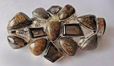 Pietersite & Brown Smoky Topaz Sterling Silver Bracelet Silver Rush 70 grams