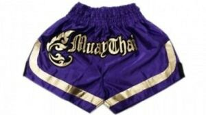 Woldorf Boxing Purple Muay Thai Shorts With Gold Thai Letter Design Martial Arts