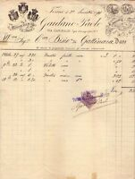 TORINO - PAOLO GAIDENO - RARA FATTURA COMMERCIALE CON MARCA DA BOLLO - 1891