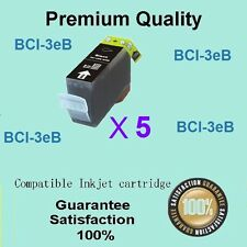 5 X Compatible Canon BCI-3ebk Black ink Pixma ip4000 ip5000 MP780 MP760