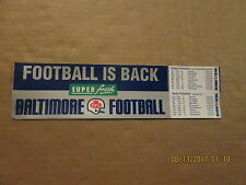 CFL Baltimore CFL Football Vintage Defunct 1994 Schedule Combo Bumper Sticker