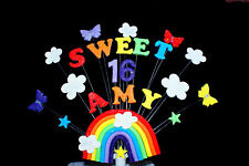 SWEET 16  Rainbow and Butterfly Birthday  Cake Topper (other ages can be added)