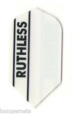New RUTHLESS WHITE SLIM Darts Flights 3 Set of 3 Steel or Soft Tip