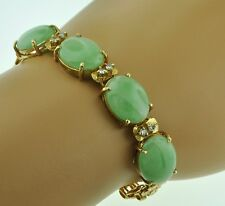 Antique 18k Solid Yellow Gold Natural A Jade Natural diamond bracelet 20.70grams