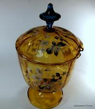 Antique Bohemian Moser Amber & Blue Glass w Enamel Flowers Syllabub Punch Bowl