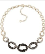 Anne Klein Gold Tone Chain-link Statement Necklace With Crystals