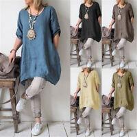 Summer Womens Cotton Linen Maxi Dress Short  Sleeve Casual Tunic Shirt Dress BO