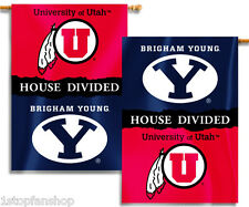 """BYU Cougars Utah Utes 28"""" x 40"""" Two Sided House Divided Banner NCAA Licensed"""