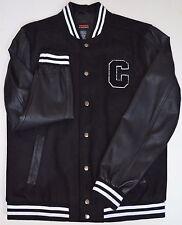 Castro Varsity Jacket Large L Black White Leather Wool Slim Coat