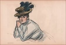 GIBSON GIRL with HAT & Pensive Look, Hand Colored, Charles Dana Gibson, 1902