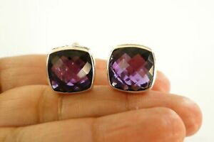 Cushion Cut Purple Amethyst Ornate Edged 925 Sterling Silver Stud Earrings