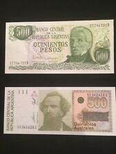 ARGENTINA Paper Money Lot MINT CONDITION - 2   different 500 peso notes