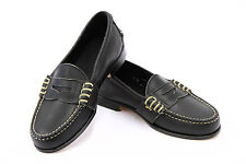 NWOB Ralph Lauren Juniors 100% Leather Black Hand Sewn Penny Loafers Size 4D