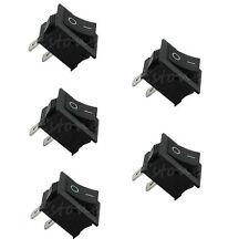 5PCS 250V 3A Mini Boat Rocker Switch SPST ON-OFF KCD1-2Pin Black Plastic Button