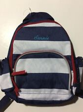 Pottery Barn Kids Blue White Striped Preschool Mini Backpack Name SONNIE New!