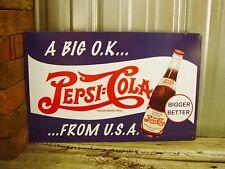 Pepsi Cola A Big OK From USA Soda Metal Tin Sign Vintage Style Bar Retro Garage