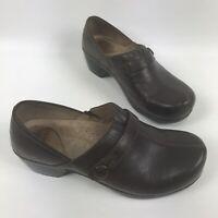 Dansko Solstice Womens Clogs Size EU 39 US 8.5-9 Split Toe Leather Brown Shoes