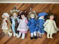 Vintage Heirloom Collection Porcelain Dolls - 6x Lot: Bo Peep, Victorian, Jester