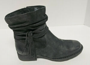 Born Cross Ankle Boots, Black Leather, Women's 9.5 M