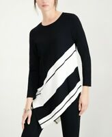 Alfani Women's Asymmetrical Striped Pullover Sweater, Black, Size M, $70, NwT