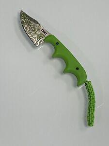 """CRKT MINIMALIST 2.13"""" Bowie Gears Green Neck Knife"""
