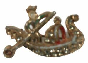 Vintage Gold Tone Rhinestone Venetian Boat Sailing Fashion Costume Brooch Pin