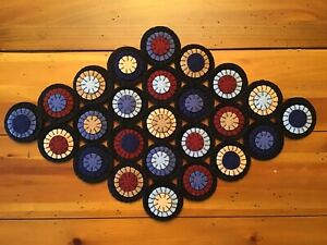 WOOL FELT PENNY RUG TABLE RUNNER CANDLE MAT PRIM PATRIOTIC SHADES