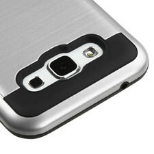 2016 * For SAMSUNG Galaxy E5 / S978L SILVER BLACK BRUSHED HYBRID SKIN COVER CASE