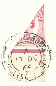 GB 1966 extremely rare bisected marginal QEII Wilding 6 D. as 3 D.-postage RR!
