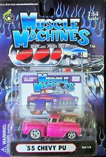 Muscle Machines LILA '55 Chevy PU con soplador #02-15 DIECAST 1:64 Escala NUEVO